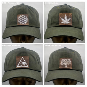 Buddha lids Buddha Gear Cotton, olive dad hat with handmade cannabis patch  Power to the plant medicine!