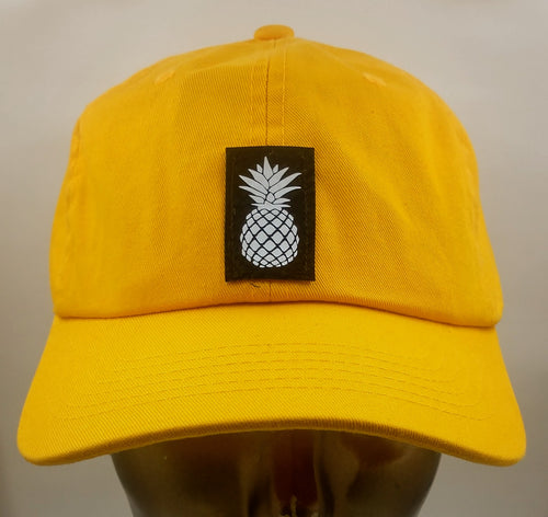 Buddha Gear Buddha Lids Buddha wear Mustard dad hat with handmade pineapple patch