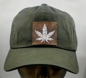 Buddha gear Buddha Lids Cotton, olive dad hat with handmade cannabis patch  Power to the plant medicine!