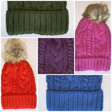 Load image into Gallery viewer, Yoga Blue Fur pom pom cable knit beanie hats.  Cozy plush lining Detachable snap-on faux fur pom Super warm Buddha Beanies By Buddha Gear, Also available with Namaste, Lotus, Om, Unicorn, Tree of Life, Compass, Infinite Heart, Moons and Phoenix patches