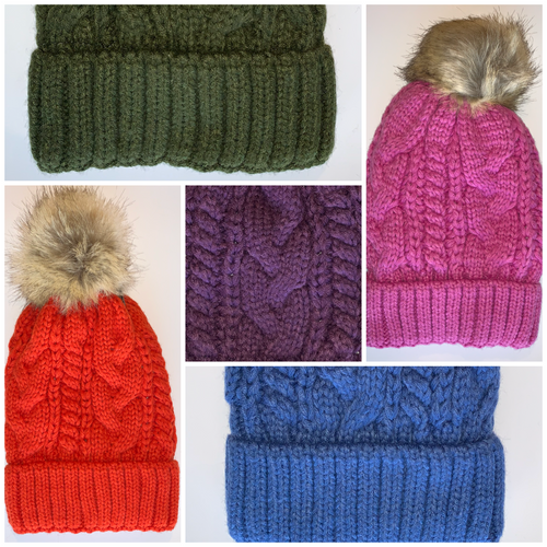 Yoga Blue Fur pom pom cable knit beanie hats.  Cozy plush lining Detachable snap-on faux fur pom Super warm Buddha Beanies By Buddha Gear, Also available with Namaste, Lotus, Om, Unicorn, Tree of Life, Compass, Infinite Heart, Moons and Phoenix patches