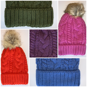 Yoga pom pom beanie hats  By Buddha Gear, Also available with Namaste, Lotus, Om, Unicorn, Tree of Life, Compass, Infinite Heart, Moons and Phoenix patches
