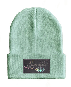 namaste lotus yoga Beanie hat by Buddha Gear