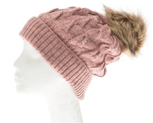 Load image into Gallery viewer, Pink Buddha Gear Plush Beanies pom pom blanked lined beanie hat