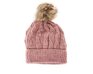 Pink Buddha Gear Plush Beanies pom pom blanked lined beanie hat