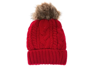 Red Fur pom cable knit beanie hats.  Cozy plush lining Detachable snap-on faux fur pom Super warm Buddha Beanies By Buddha Gear. Also available with Namaste, Lotus, Om, Unicorn, Tree of Life, Compass, Infinite Heart, Moons and Phoenix patches