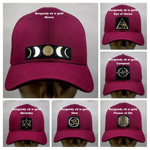 Buddha lids Buddha Gear Buddha wear Yoga pants Burgundy snapback with hand made flower of life patch   The flower of life is one of the oldest symbols known to man and is a very powerful, sacred geometry symbol and creation pattern to meditate or do yoga with, especially with a powerful crystal! Even Leonardo da Vinci studied the Flower of Life and its mathematical properties. Metatron's Cube is a symbol derived from the Flower of Lifewhich was used as a containment circle or creation circle.