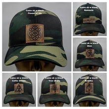 Load image into Gallery viewer, Buddha Gear Buddha Lids Buddha Wear Camo snapback with flower of life symbol  The flower of life is one of the oldest symbols known to man and is a very powerful, sacred geometry symbol and creation pattern to meditate or do yoga with, especially with a powerful crystal! Even Leonardo da Vinci studied the Flower of Life and its mathematical properties. Metatron's Cube is a symbol derived from the Flower of Life which was used as a containment circle or creation circle.