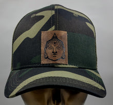 Load image into Gallery viewer, Buddha gear Buddha Lids Buddha Wear Hat Because why not rock your Buddha while communing with nature in your Camo snapback with handmade Buddha patch