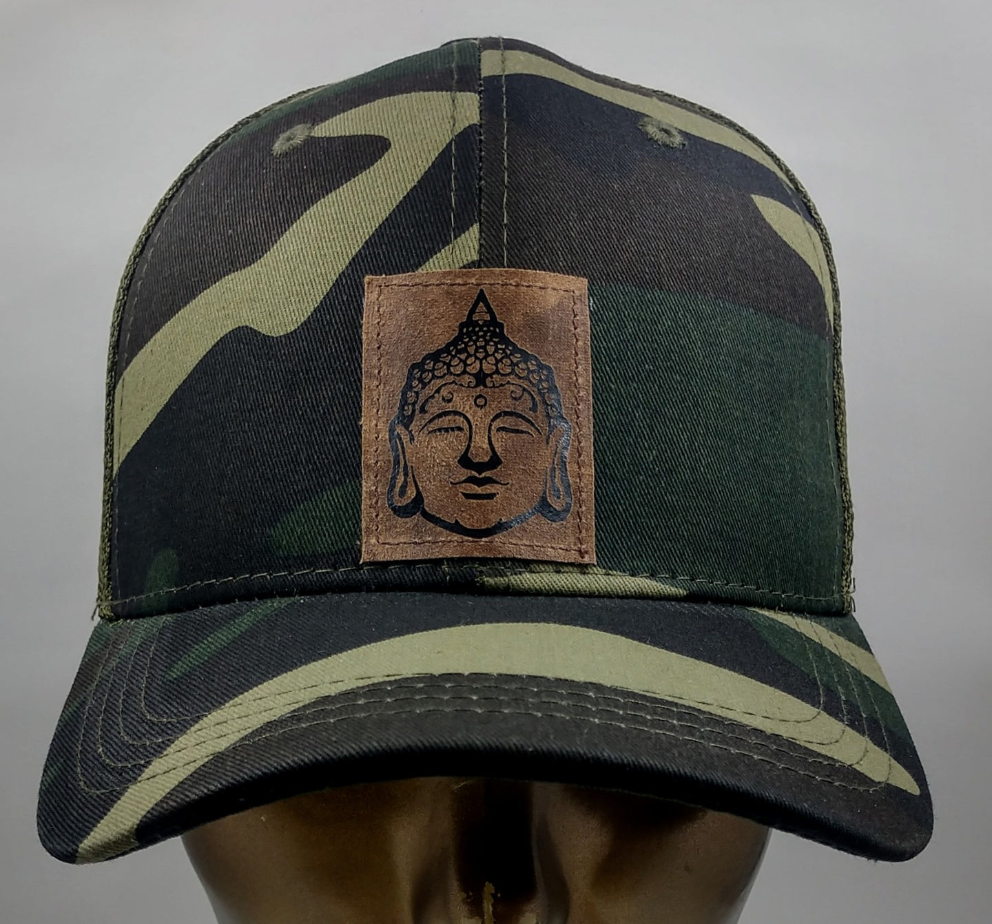 Buddha gear Buddha Lids Buddha Wear Hat Because why not rock your Buddha while communing with nature in your Camo snapback with handmade Buddha patch