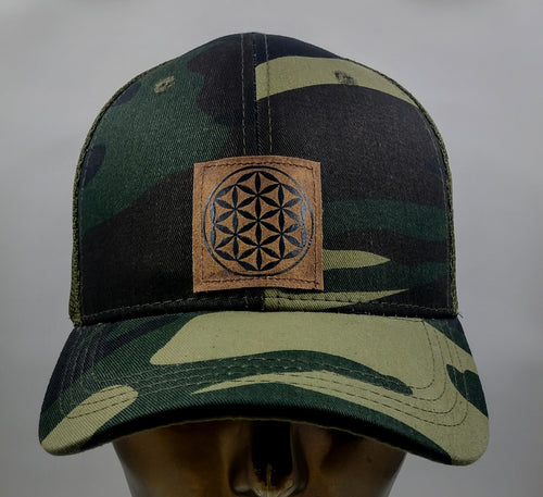 Buddha gear Buddha lids Buddha wear Camo snapback with flower of life symbol  The flower of life is one of the oldest symbols known to man and is a very powerful, sacred geometry symbol and creation pattern to meditate or do yoga with, especially with a powerful crystal! Even Leonardo da Vinci studied the Flower of Life and its mathematical properties. Metatron's Cube is a symbol derived from the Flower of Life which was used as a containment circle or creation circle.