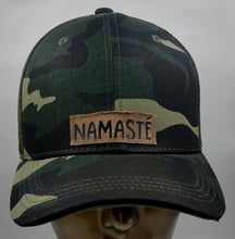 "Load image into Gallery viewer, Buddha Lids Buddha Gear Buddha Wear Camo snapback with handmade namaste patch  Because ""The redneck in me honors and respects the redneck in you""..."