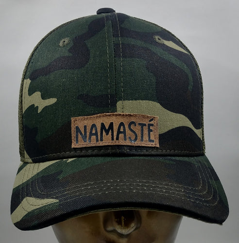 Buddha Lids Buddha Gear Buddha Wear Camo snapback with handmade namaste patch  Because