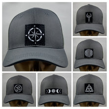 Load image into Gallery viewer, Buddha wear Buddha gear Buddha lids Grey snapback with handmade moon symbol   Who isn't mesmerized by the moon? the Moon inhabits the landscapes of the soul, emotions, and dream life 🌕❤️  The moon is a feminine symbol, universally representing the rhythm of time as it embodies the cycle. The phases of the moon symbolize immortality and eternity, enlightenment or the dark side of Nature herself.