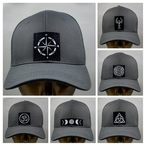 Buddha lids Buddha gear Buddha wear Grey snapback with handmade flower of life symbol  The flower of life is one of the oldest symbols known to man and is a very powerful, sacred geometry symbol and creation pattern to meditate or do yoga with, especially with a powerful crystal! Even Leonardo da Vinci studied the Flower of Life and its mathematical properties. Metatron's Cube is a symbol derived from the Flower of Life which was used as a containment circle or creation circle.