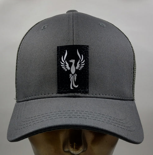 "Buddha gear Buddha Lids Buddha Wear Grey snapback with handmade Phoenix symbol  The mythical phoenix animal totem is the keeper of the fire in all of creation. It represents transformation, death, and rebirth in its fire. As a powerful spiritual totem, the phoenix is the ultimate symbol of strength and renewal. As both a fire and solar symbol, the phoenix animal guide is symbolic of the sun, which ""dies"" in setting each night only to be reborn in rising the next morning."