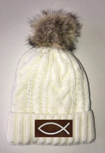Load image into Gallery viewer, Ichthus Beanies - Ivory Plush, Blanket Lined Cable Knit, Pom Pom Beanie Buddha Gear