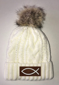 Ichthus Beanies - Ivory Plush, Blanket Lined Cable Knit, Pom Pom Beanie Buddha Gear