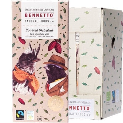 BENNETTO Organic Dark Chocolate Toasted Hazelnut 14x100g - Welcome Organics