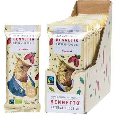 BENNETTO Organic Coconut Dark Chocolate 22x30g-BENNETTO-Welcome-organics