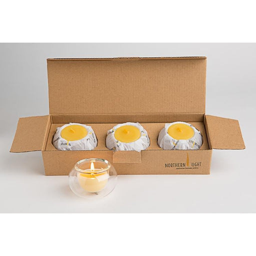 Beeswax Tea Light Candles with Glass Holders-northern light-Welcome-organics