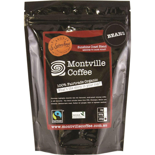 MONTVILLE COFFEE Sunshine Coast Blend Coffee Beans 250gm-MONTVILLE COFFEE-Welcome-organics