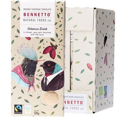 BENNETTO Organic Intense Dark Chocolate 14x100g-BENNETTO-Welcome-organics