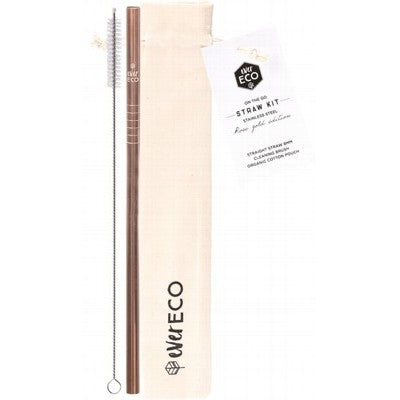 EVER ECO Rose Gold + Cleaning Brush Stainless Steel Straw - Straight 1 - Welcome Organics