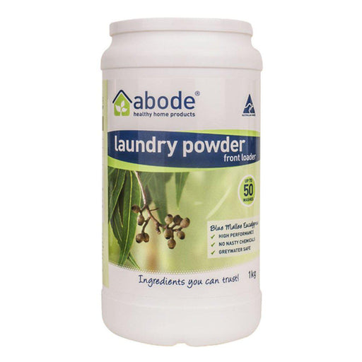 ABODE Laundry Powder Front Top Blue Mallee Eucalyptus 1kg-ABODE-Welcome-organics