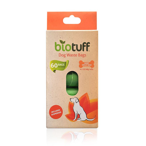 BIOTUFF Dog Waste Bags & Dispenser 4 x 15 Bag Rolls - 60 Bags