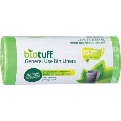 BIOTUFF Compostable Kitchen Tidy Bin Bags 25