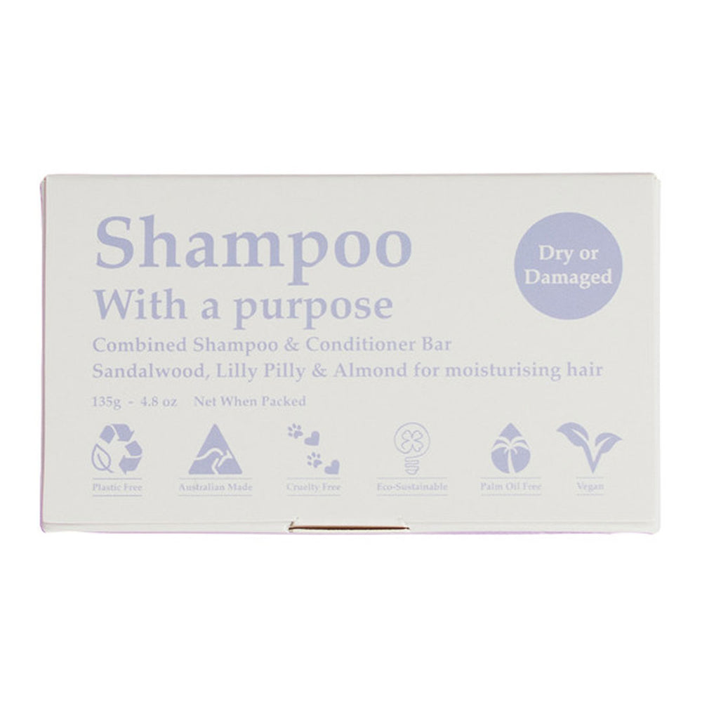 SHAMPOO WITH A PURPOSE Dry or Damaged Shampoo & Conditioner Bar 135g - Welcome Organics