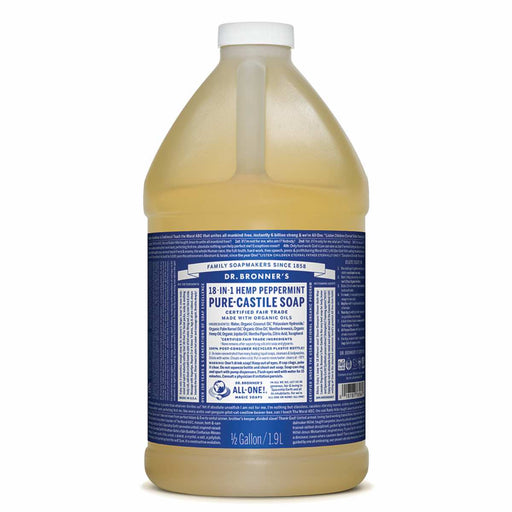 DR BRONNERS Bulk Peppermint Pure Castile Soap 18 in 1 Liquid 1.89L