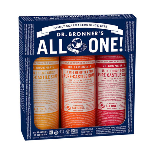 DR BRONNERS Pure Liquid Castile Soap Summer Lovin' 237ml x 3 Pack