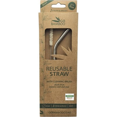 GO BAMBOO Bent Stainless Steel Straw + Cleaning Brush