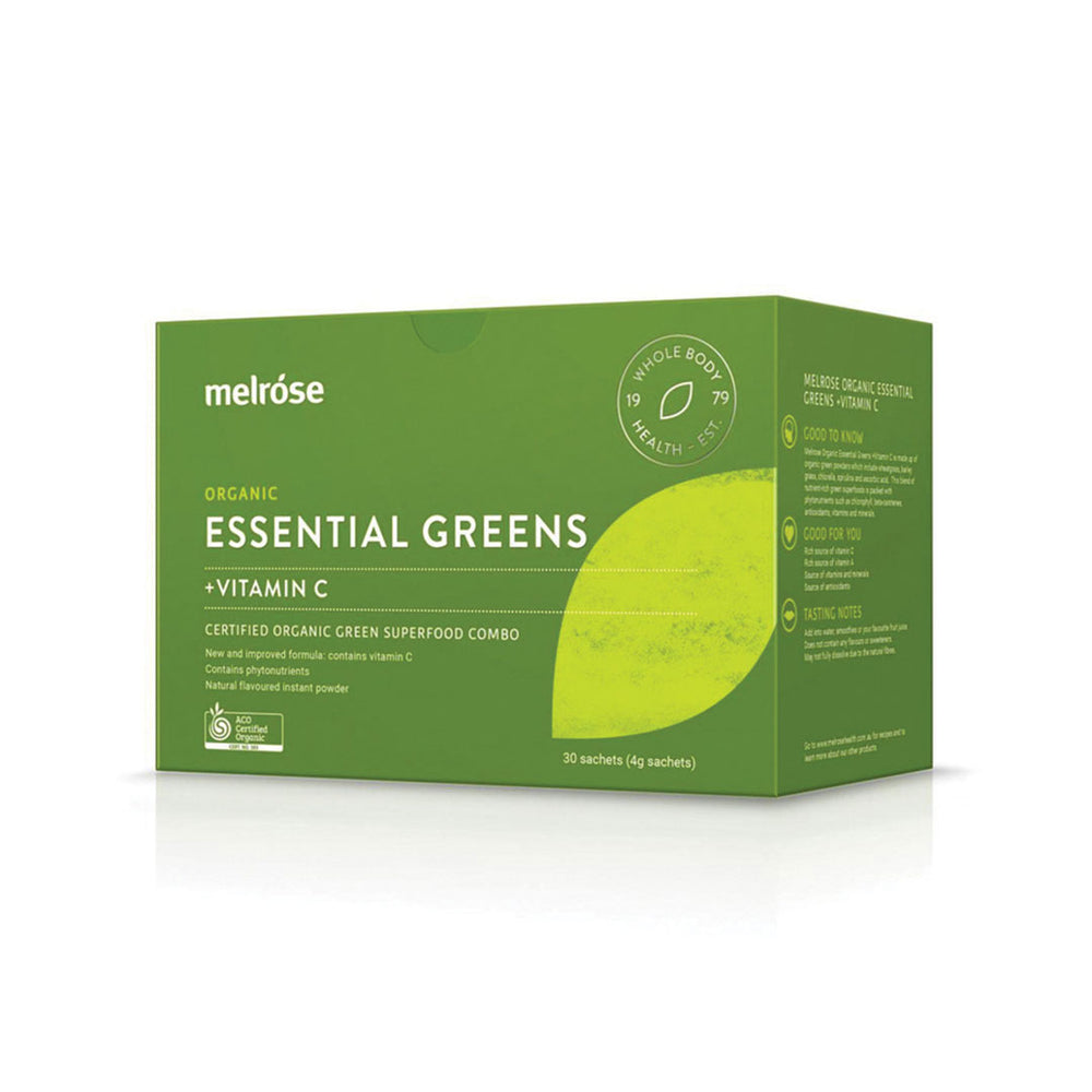 MELROSE Organic Essential Greens & Vitamin C Sachet 4g x 30 Pack - Welcome Organics