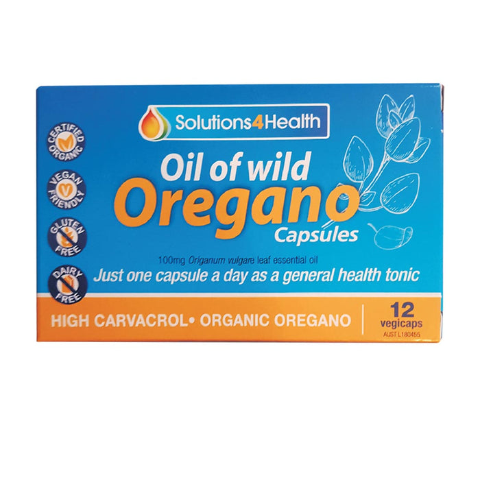 SOLUTIONS 4 HEALTH Organic Oil of Oregano Capsules 12vc - Welcome Organics