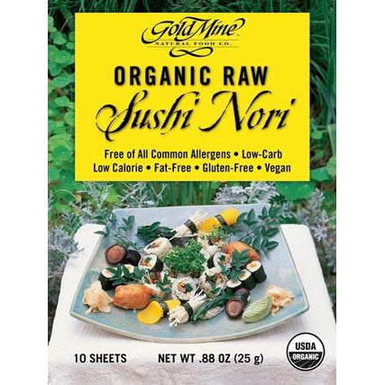 GOLD MINE Organic Raw (10 Sheets) Sushi Nori 25g - Welcome Organics