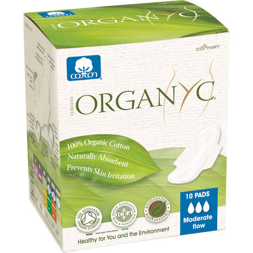 ORGANYC Ultra Thin Pads Moderate Flow with Wings x 10 Pack - Welcome Organics