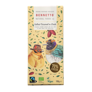 BENNETTO Organic Dark Chocolate Salted Caramel In Dark 100g (x2)