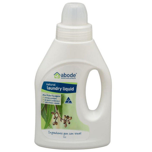 ABODE Laundry Liquid (Front & Top Loader) Blue Mallee Eucalyptus 1L - Welcome Organics