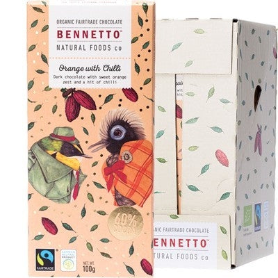 BENNETTO Organic Dark Chocolate Orange with Chilli 14x100g - Welcome Organics