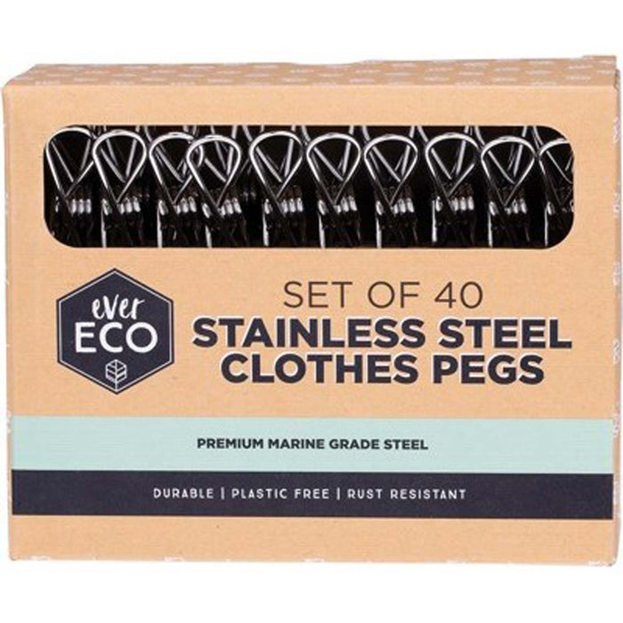 EVER ECO Stainless Steel Clothes Pegs 40 - Welcome Organics