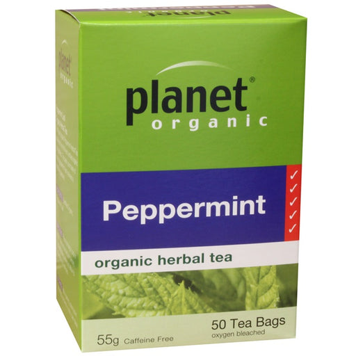 PLANET ORGANIC Peppermint Herbal Tea x 50 Tea Bags - Welcome Organics