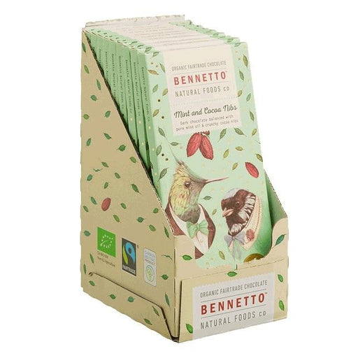 BENNETTO Organic Mint & Cocoa Nibs Dark Chocolate 14x100g-BENNETTO-Welcome-organics