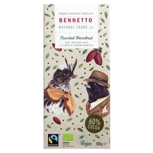 BENNETTO Organic Dark Chocolate Toasted Hazelnut 100g (x2)