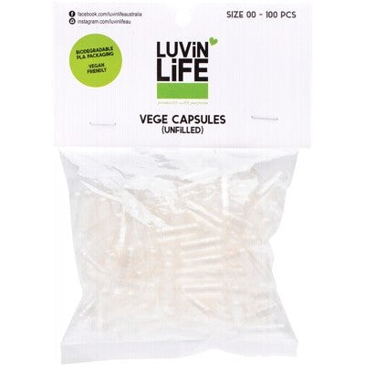 LUVIN LIFE 100 Vege Capsules Unfilled Size 00