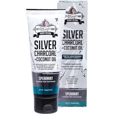 MY MAGIC MUD Silver Charcoal Toothpaste With Coconut Oil Spearmint 113g