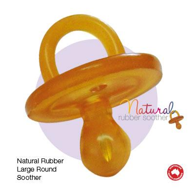 NATURAL RUBBER SOOTHERS 2 x Large Rounded (6 mths +) Soothers - Twin Pack 2 - Welcome Organics