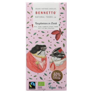 BENNETTO Organic Dark Chocolate Raspberries In Dark 100g (x2)